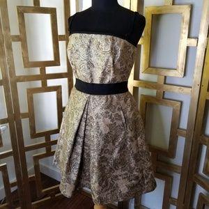 DG Dolce Gabbana Gold Black Brocade Party Dress 42